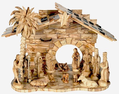 Fine Hand Carved Wooden Nativity Set Musical Holy Land